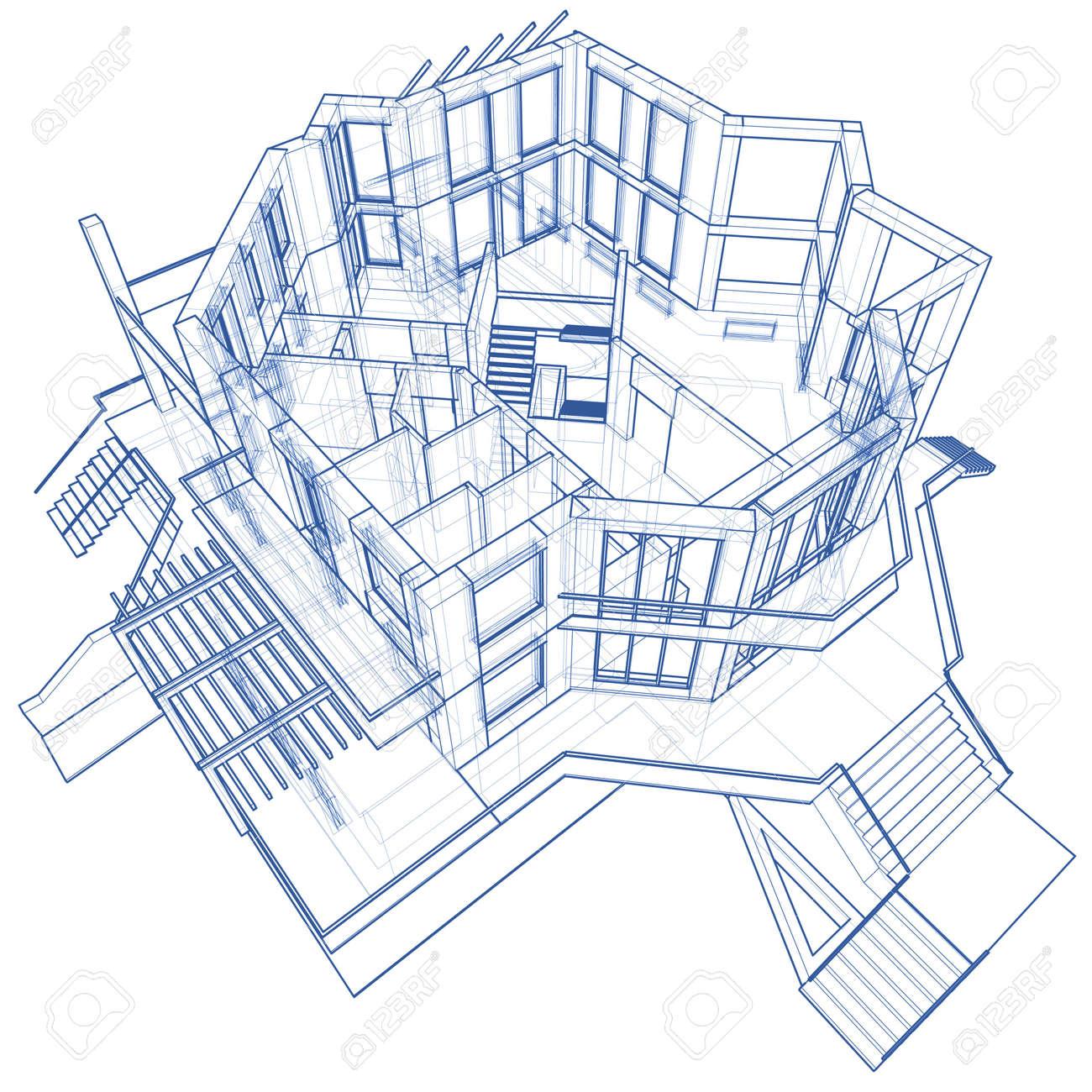 3d blueprint house vector technical draw stock photo picture and 3d blueprint house vector technical draw stock photo 3750088 malvernweather Choice Image