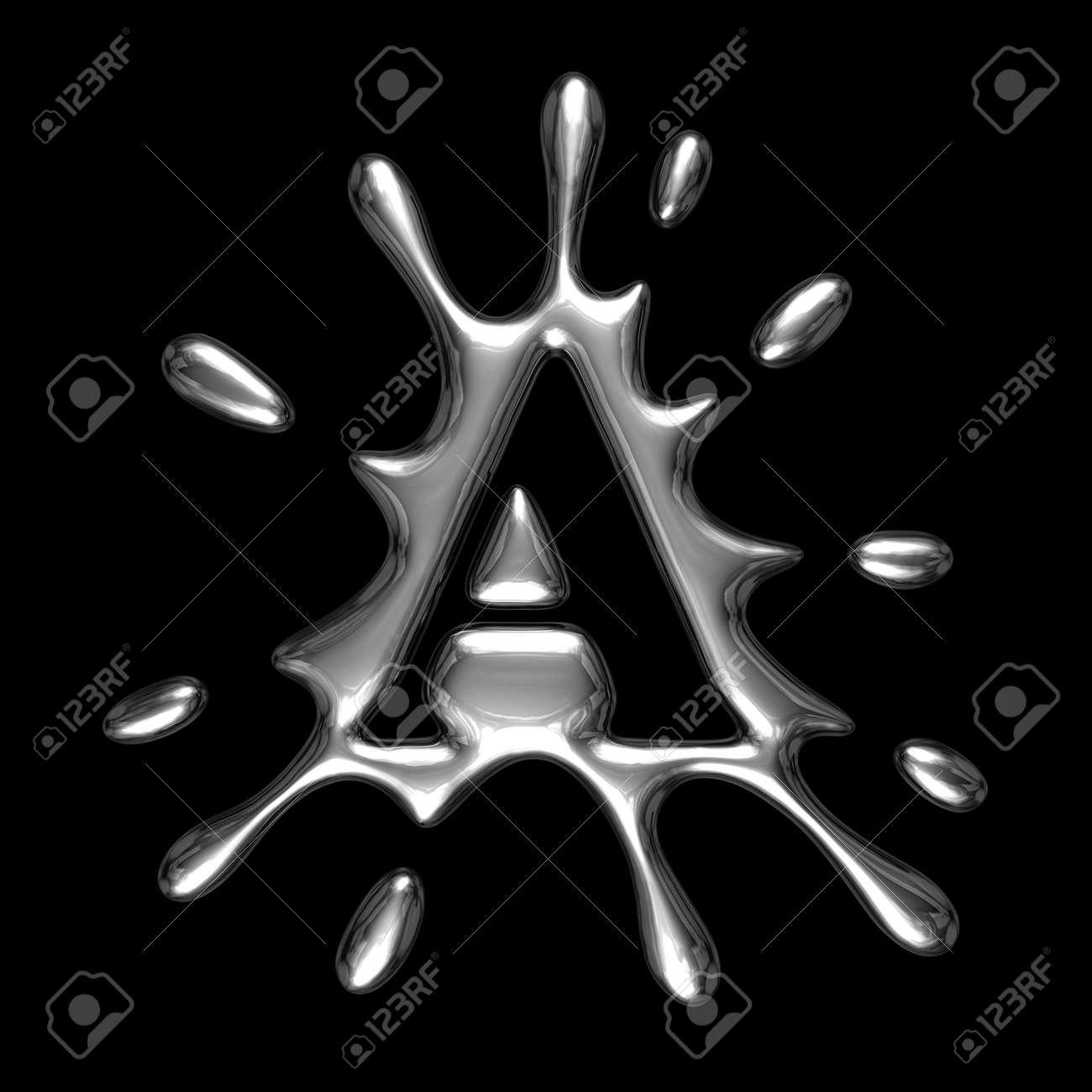 A Alphabet Letter Liquid metal letter A