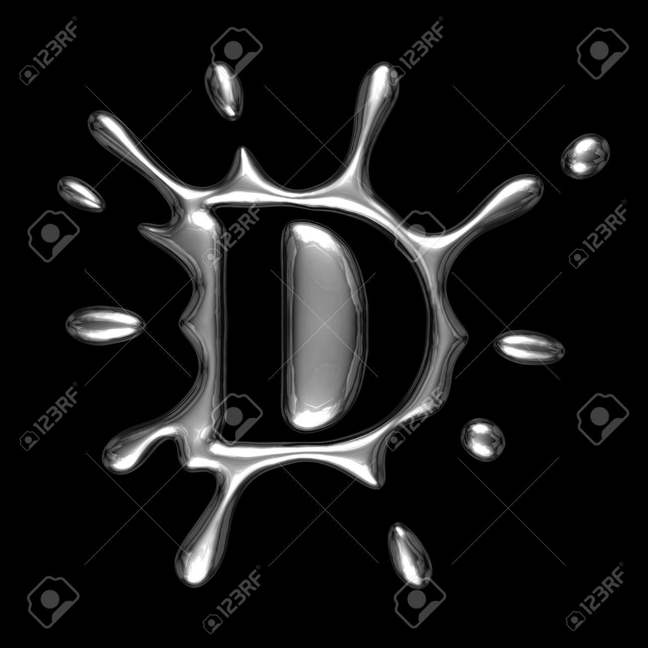 Liquid Metal Letter D Alphabet Symbol Isolated On A Black