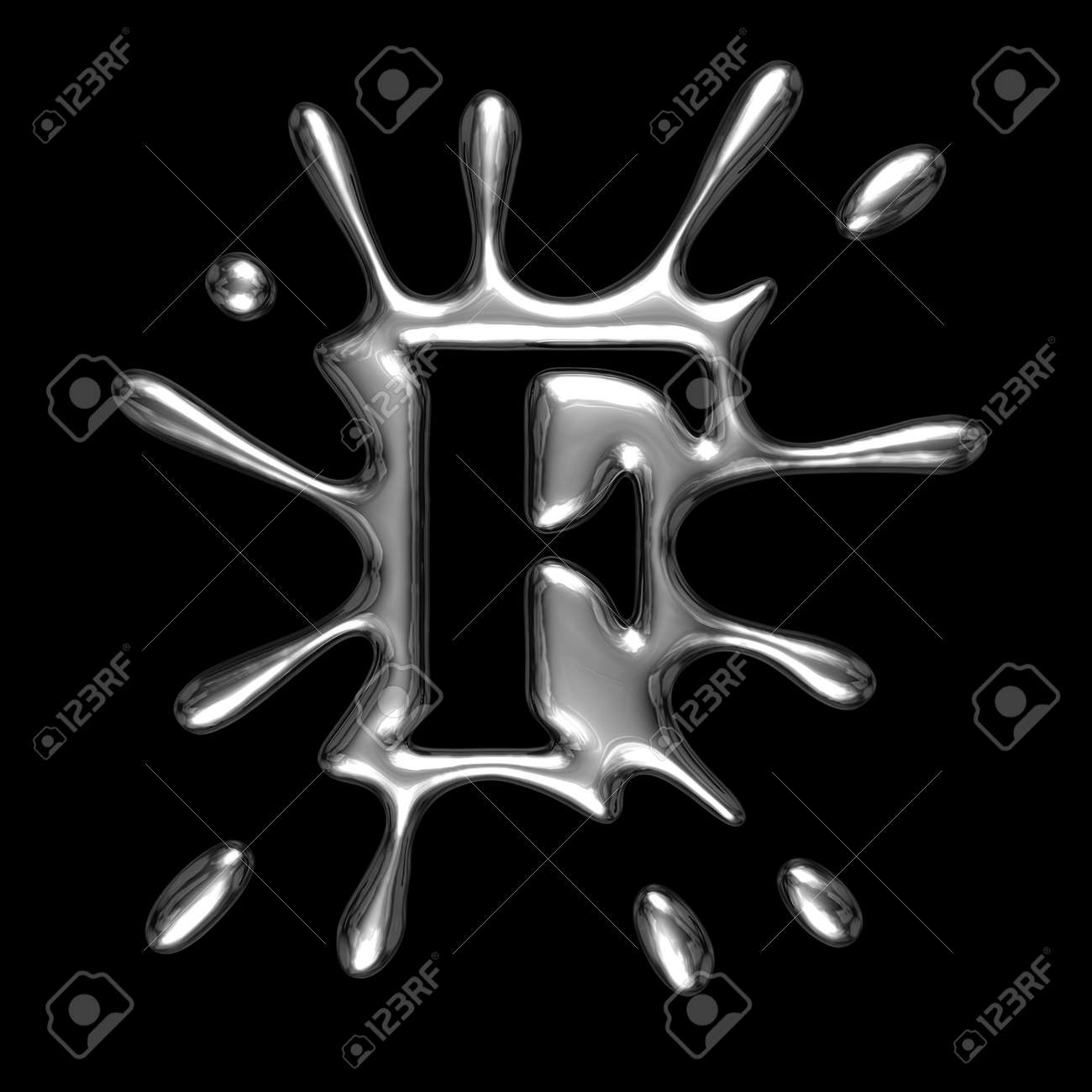 Liquid metal letter F - alphabet symbol isolated on a black background (with path) Stock Photo - 4918549