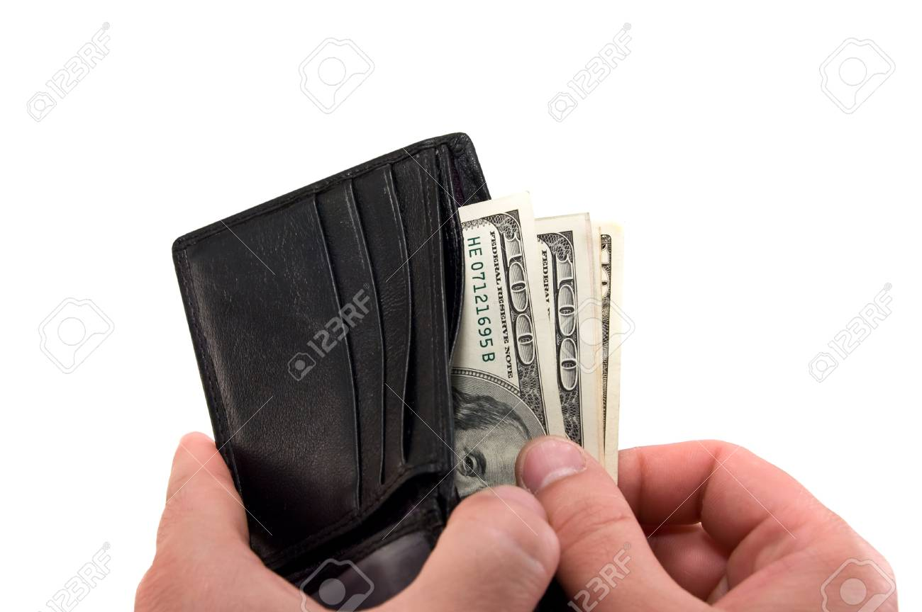 a black wallet with dollars in the hands Stock Photo - 13500907