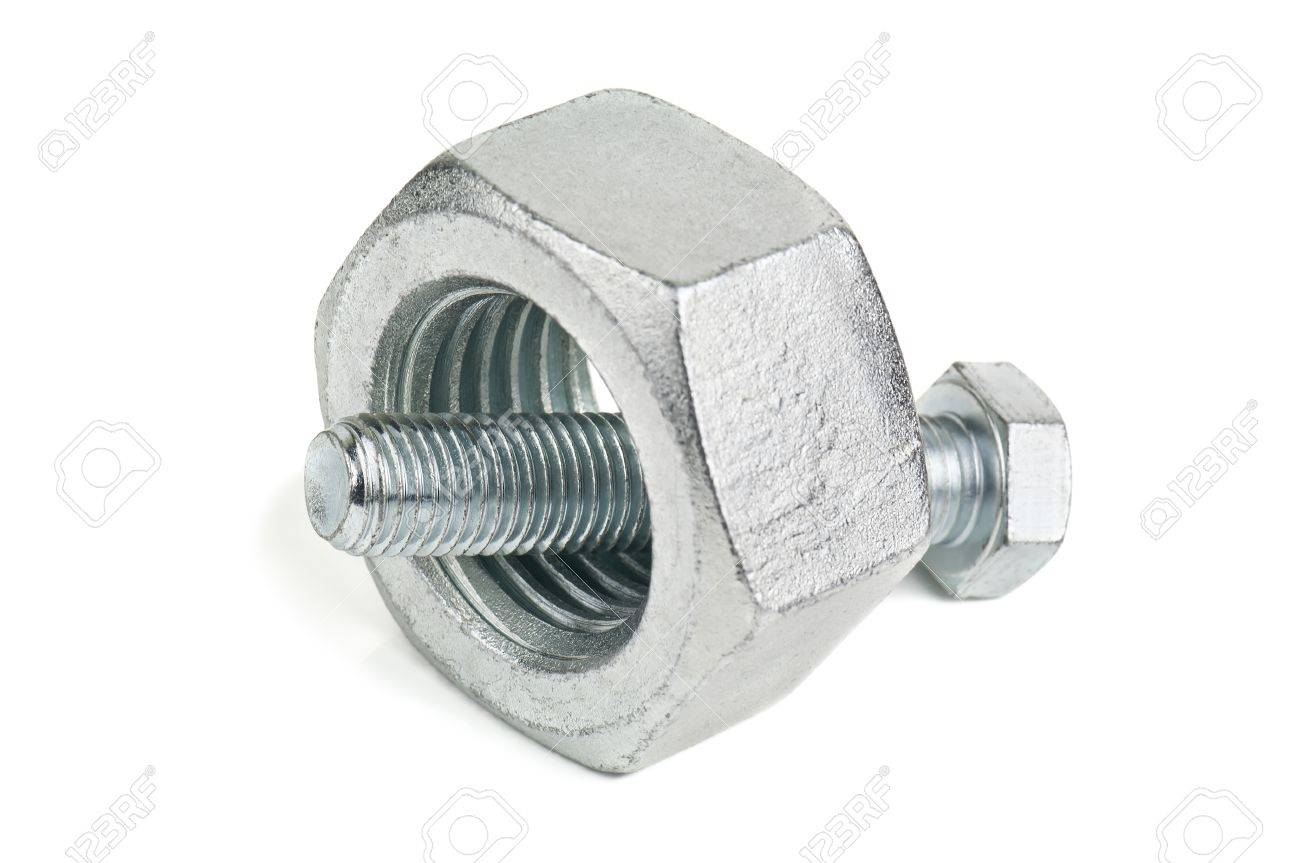 small bolt and too big nut on white - 29821963