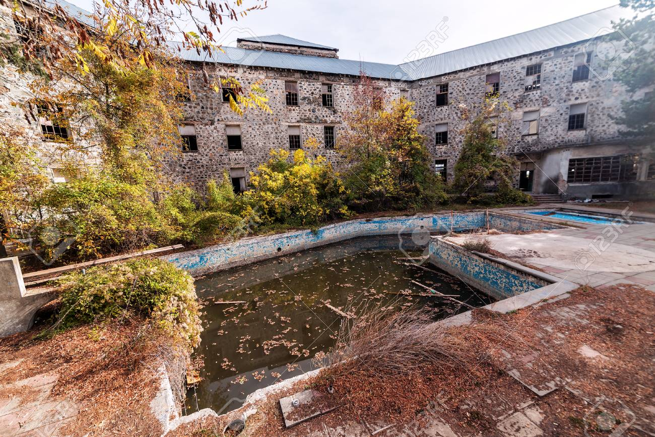 Abandoned Hotel With Basin Pool Stock Photo Picture And Royalty Free Image Image 75628373