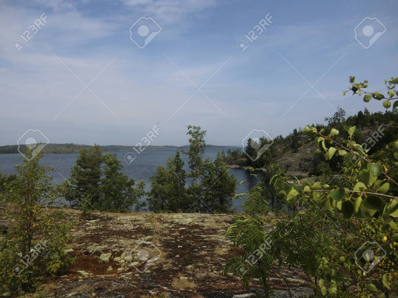 Kind from island on passage on Ladoga lake Stock Photo - 10610609