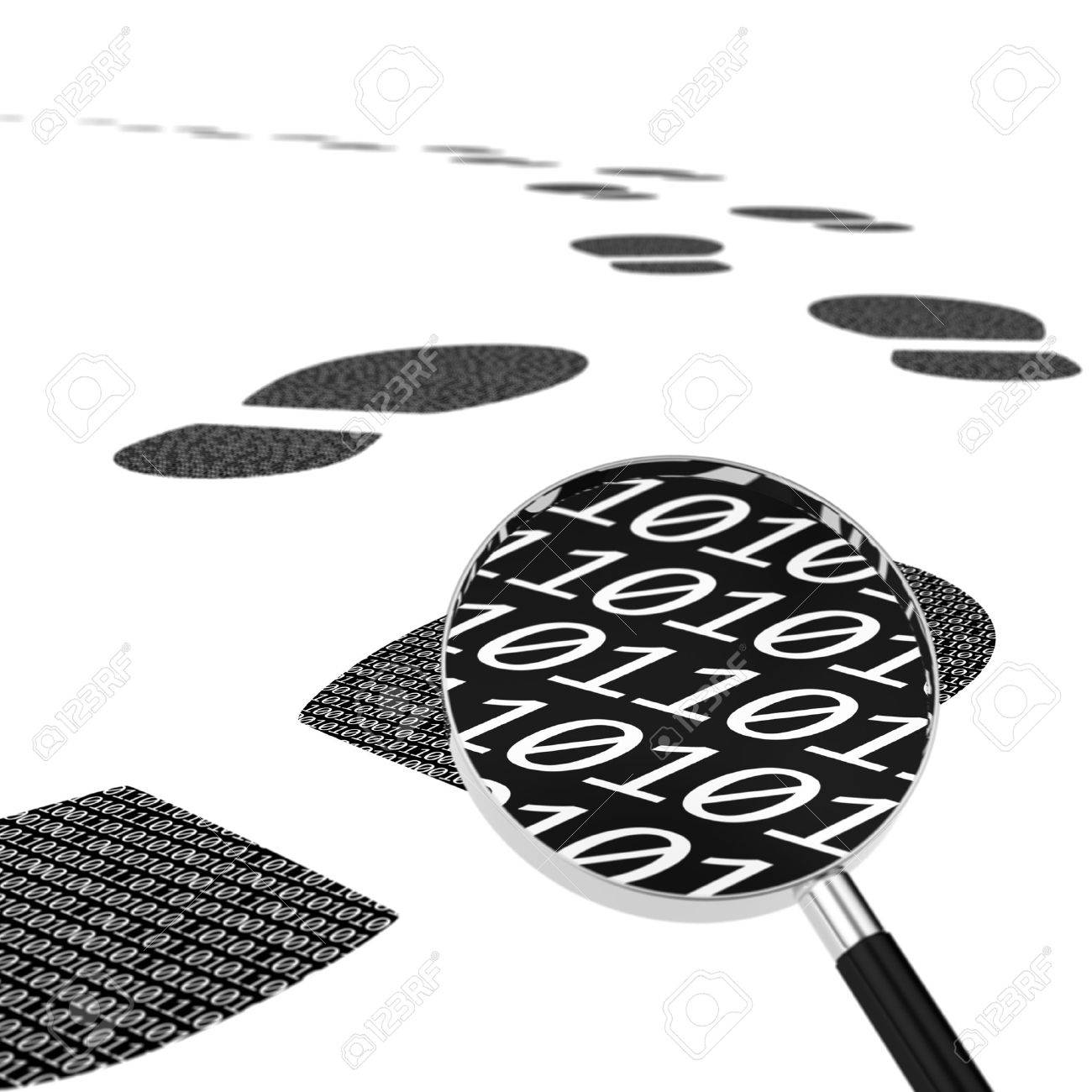 Computer generated image of digital footprint and magnifying glass representing digital data theft trail Stock Photo - 13412070