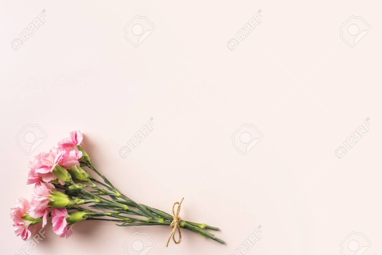 Design Concept Top View A Bunch Of Carnation With Hemp Rope Stock Photo Picture And Royalty Free Image Image 120772743