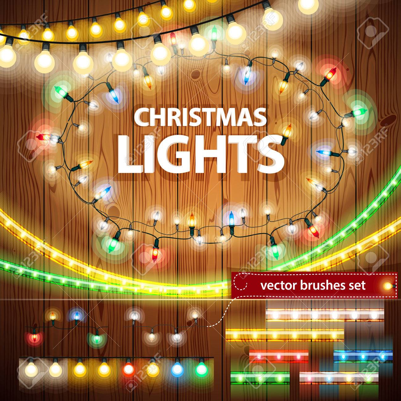Christmas Lights Decorations Set Stock Vector - 33100885