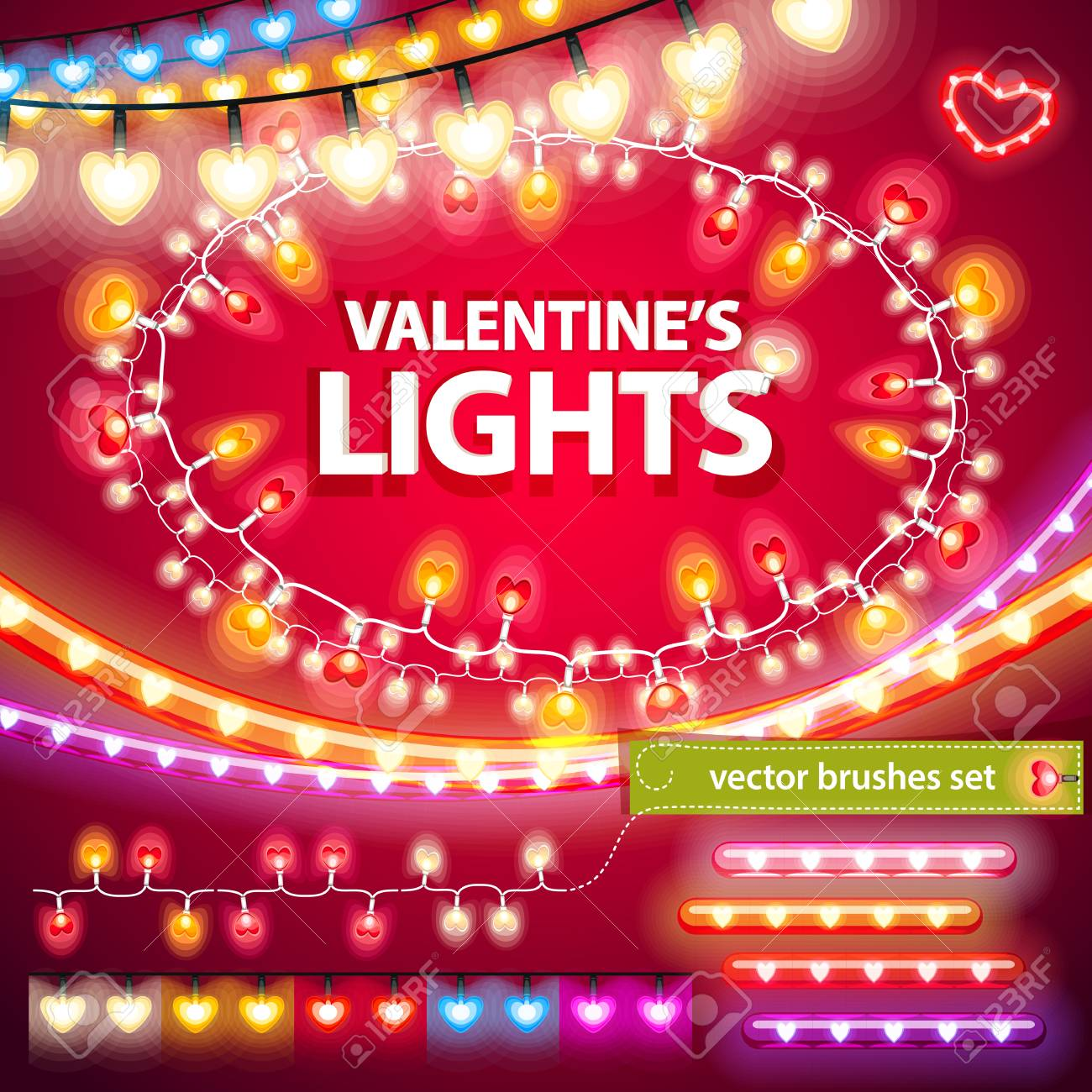 valentines lights decorations set stock vector 35316789