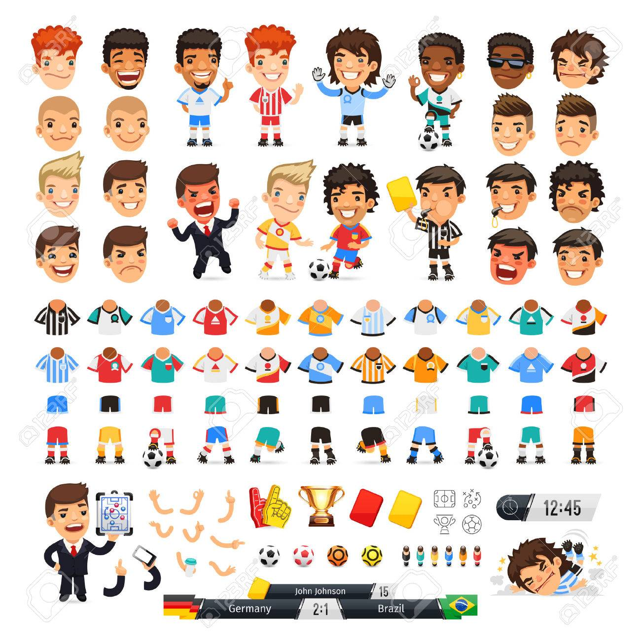 Big soccer set for your design or animation. Cartoon international football players and icons. Isolated on white background. - 50057460