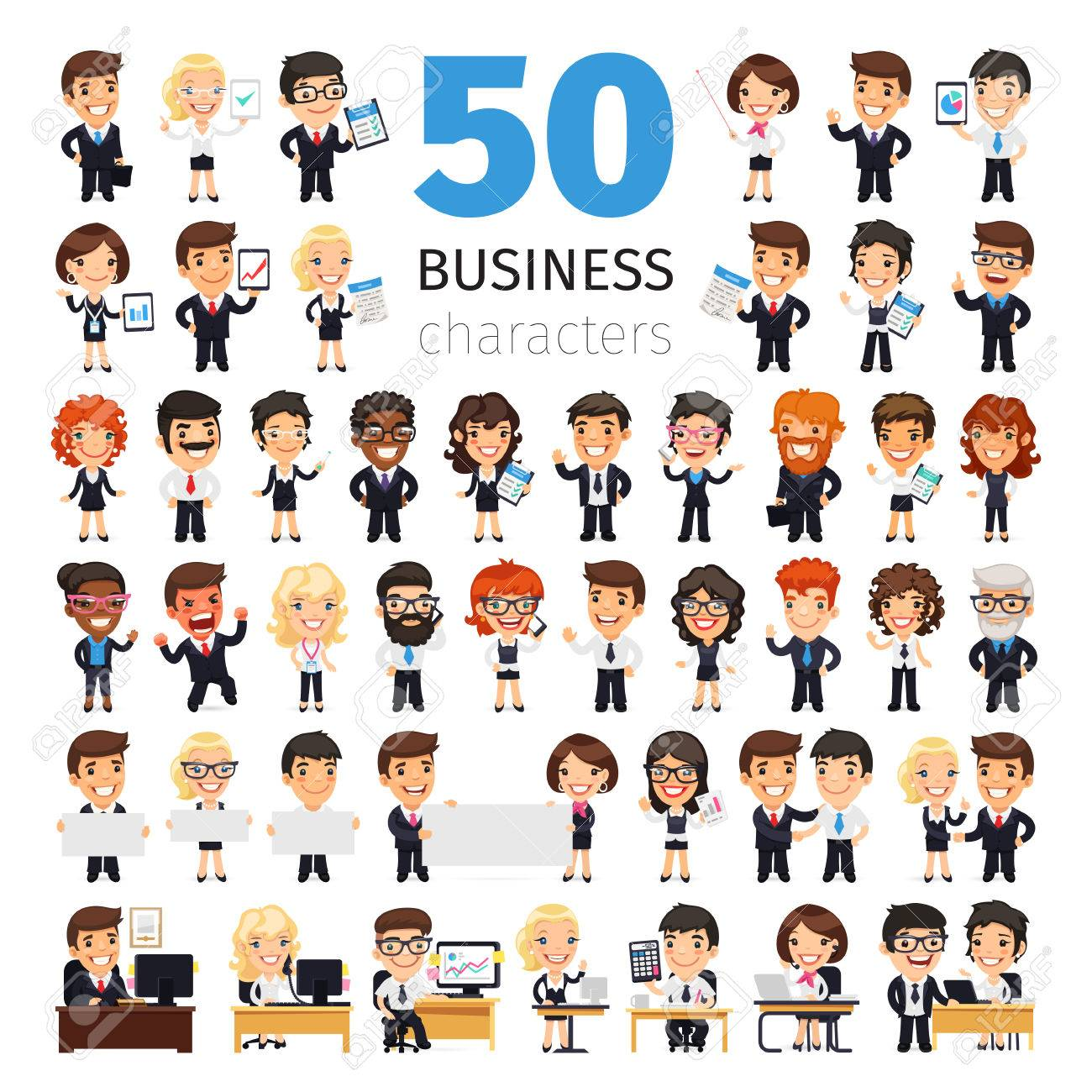 Big set of 50 business people and other office workers. Isolated on white background. Clipping paths included. - 60632742