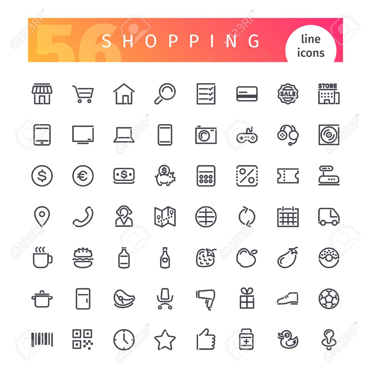 Set of 56 shopping line icons suitable for web, infographics and apps. Isolated on white background. - 60639592