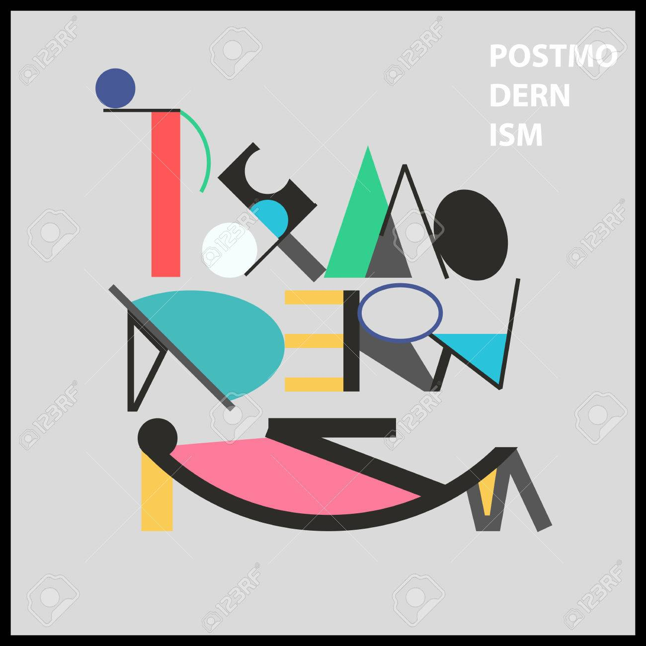 Postmodernism word and sarcastic face geometric bright colorful postmodernism word and sarcastic face geometric bright colorful poster in memphis style for interior design buycottarizona Images