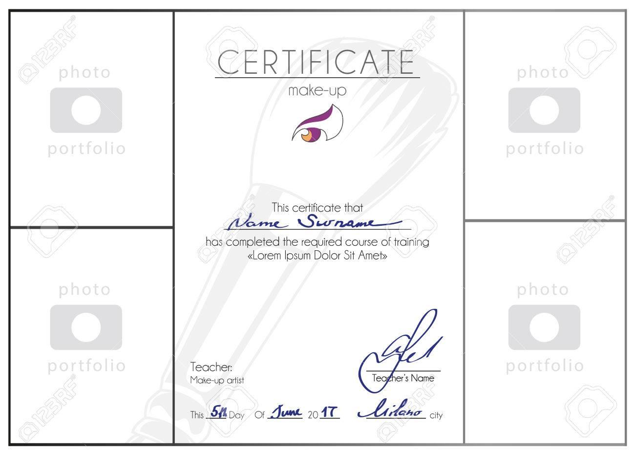 Maquillage Cours Complété Modèle De Certificat Maquillage Artiste Design Diplôme Vecteur A4 Vierge