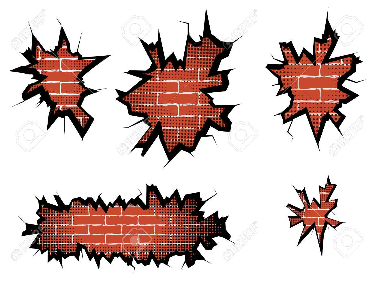 set hole in broken wall and brick background with halftone vector rh 123rf com Brick Wall Artwork Graffiti Brick Wall Clip Art