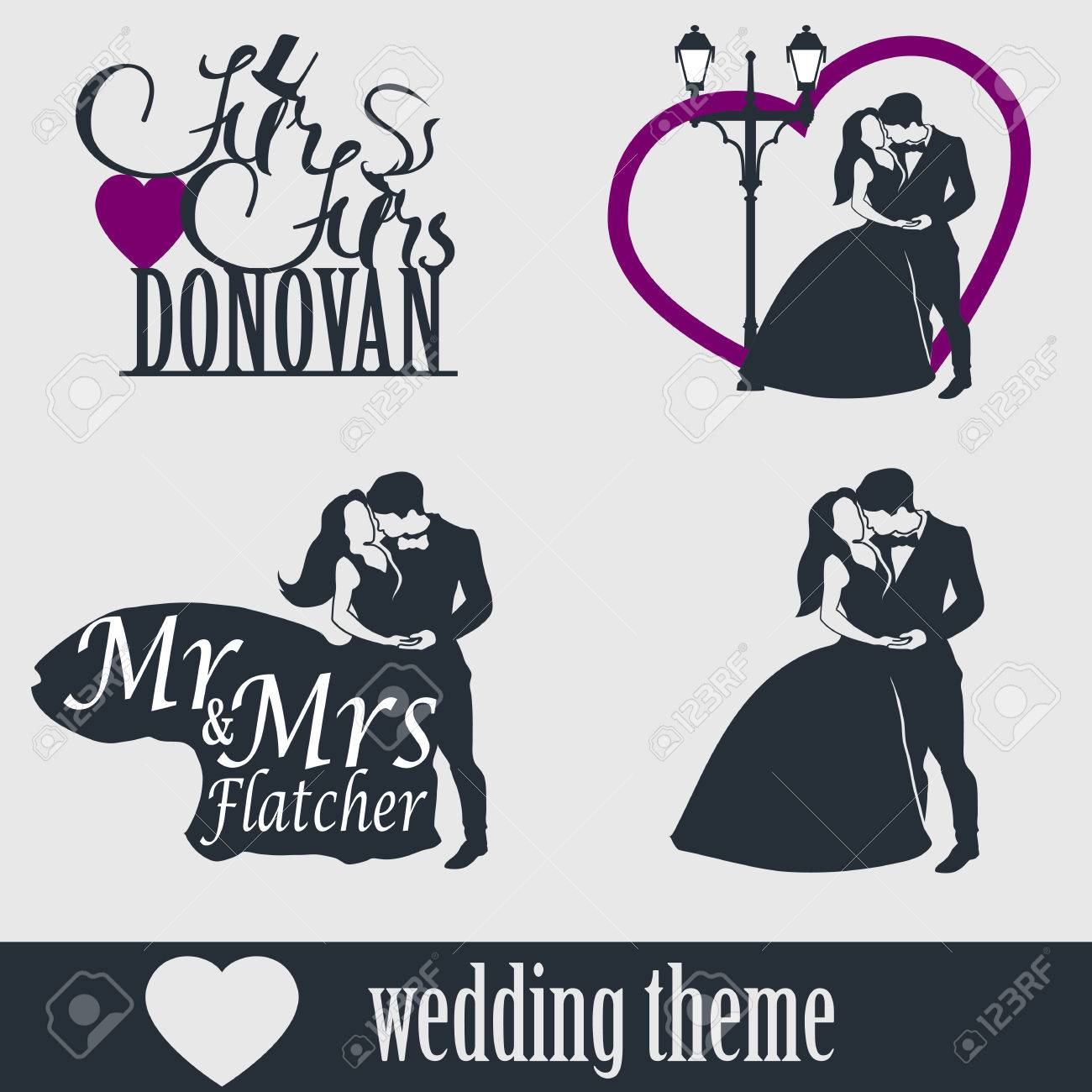 Wedding Cake Topper Vector Set. Wedding Couple Isolated Silhouette ...