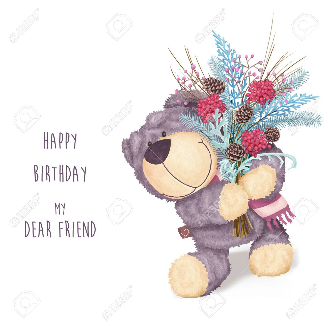 Happy Birthday Greeting Card With Bear And Winter Bouquet Funny Childish Stock
