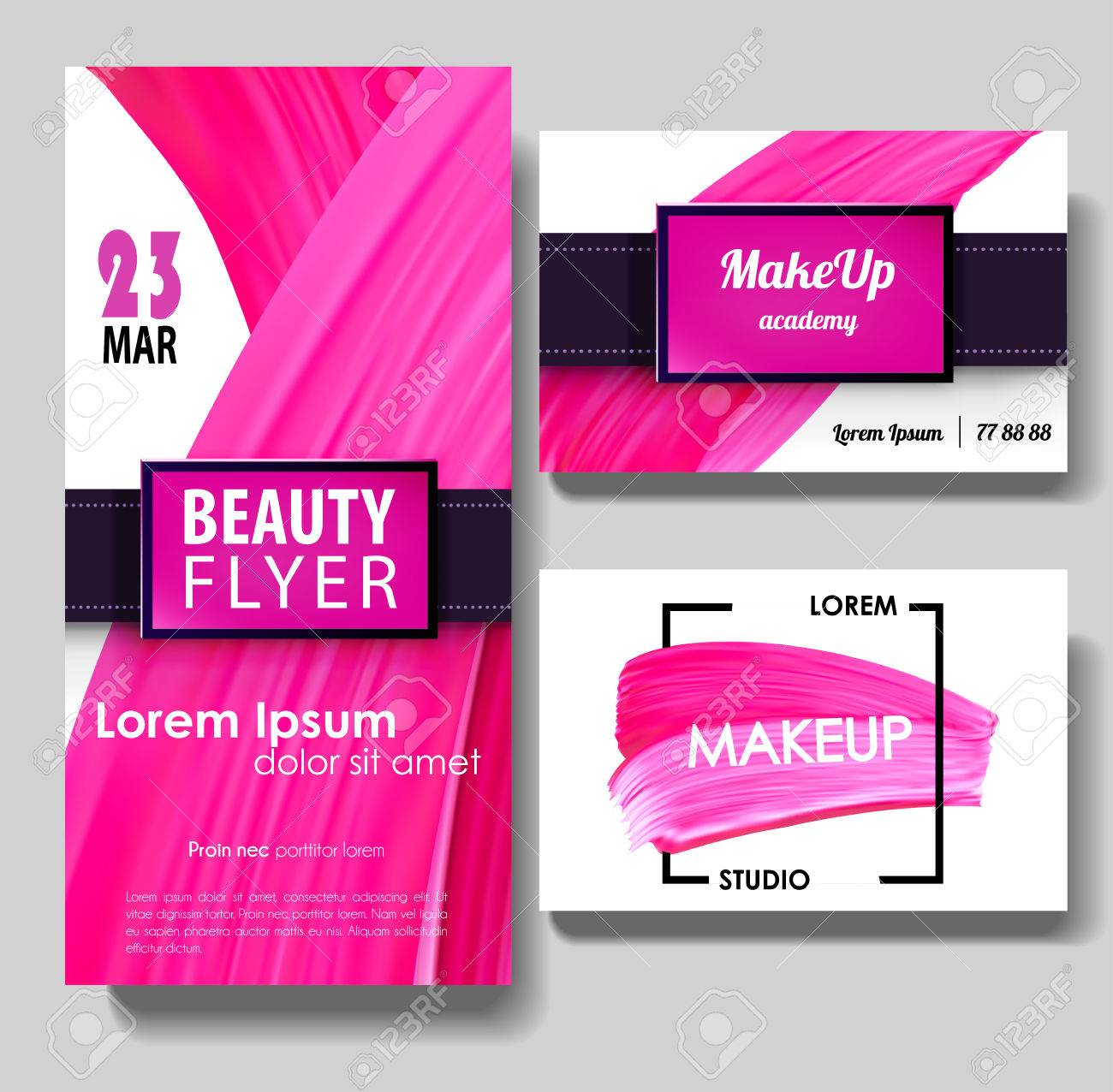 Makeup Business Card Make Up Flyer Template Paint Brush Pink