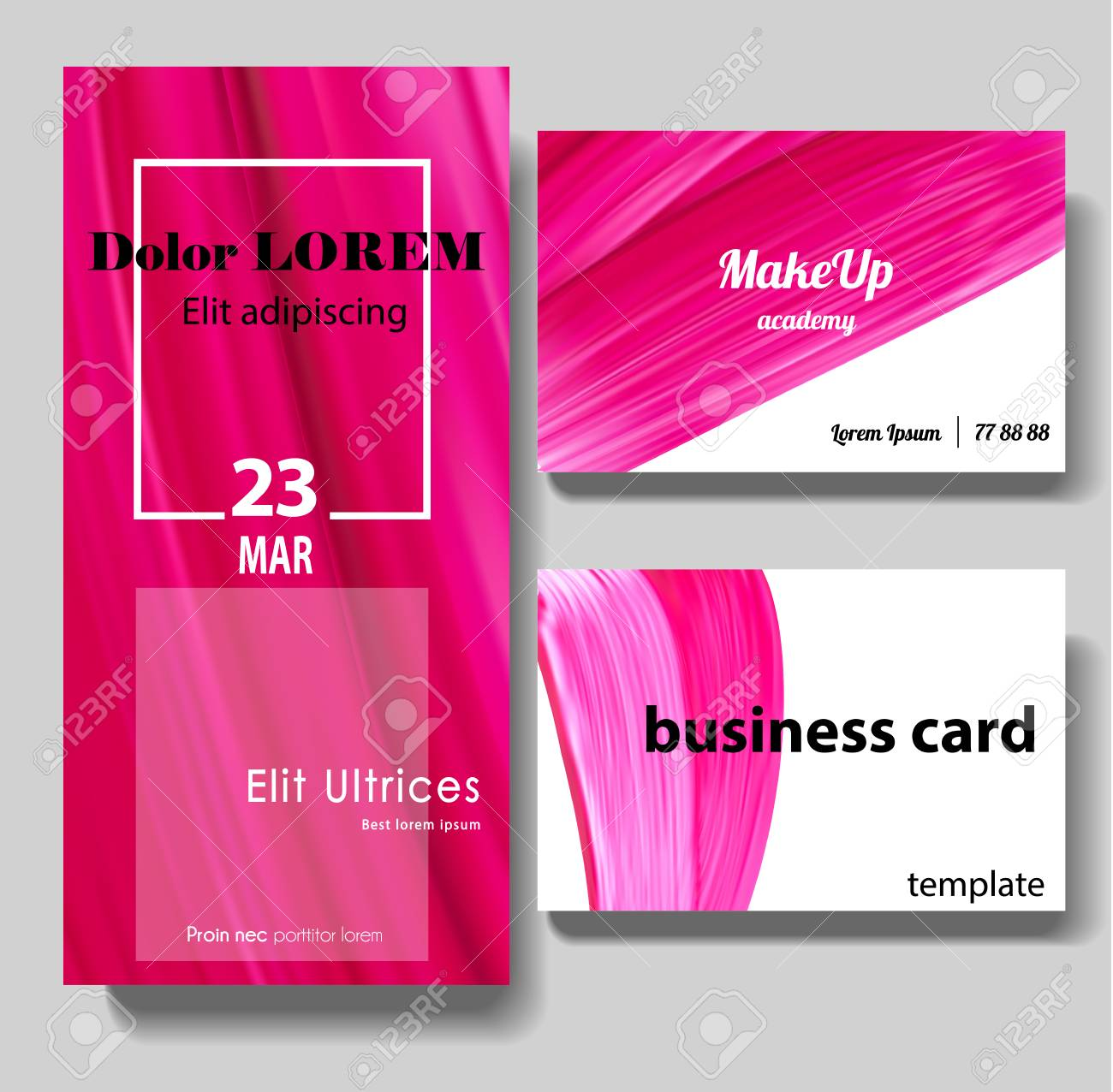 Makeup business card beauty flyer template paint brush pink makeup business card beauty flyer template paint brush pink smear with different design colourmoves