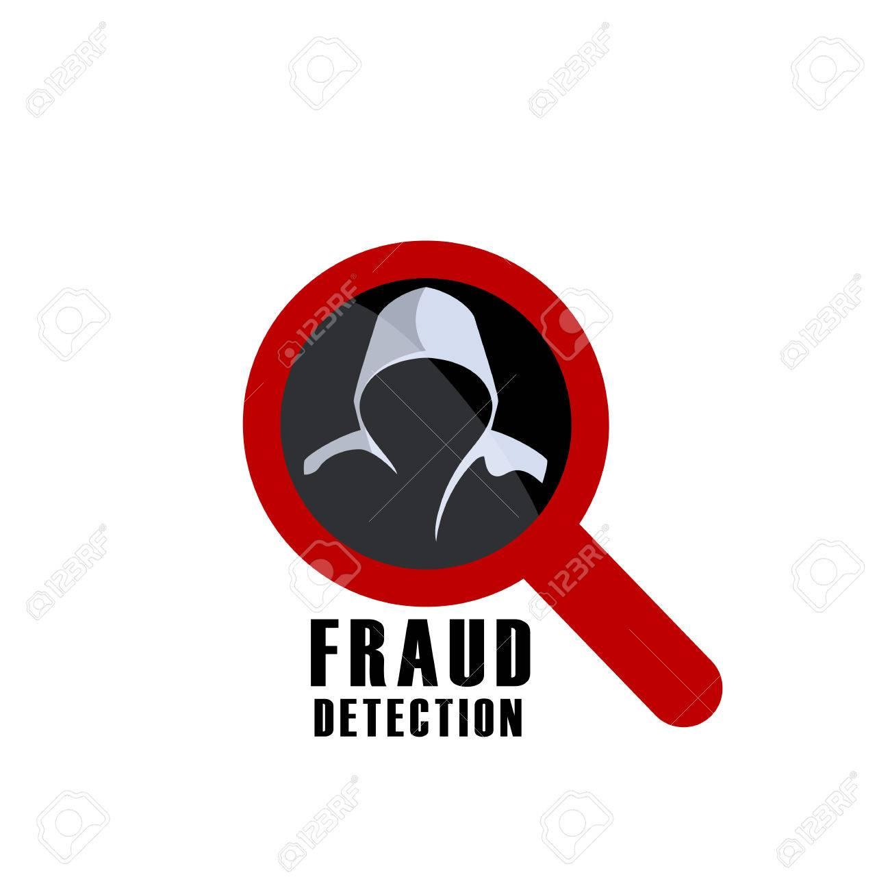 Hacker detection sign and man in hood. Fraud investigation vector icon - 69116124