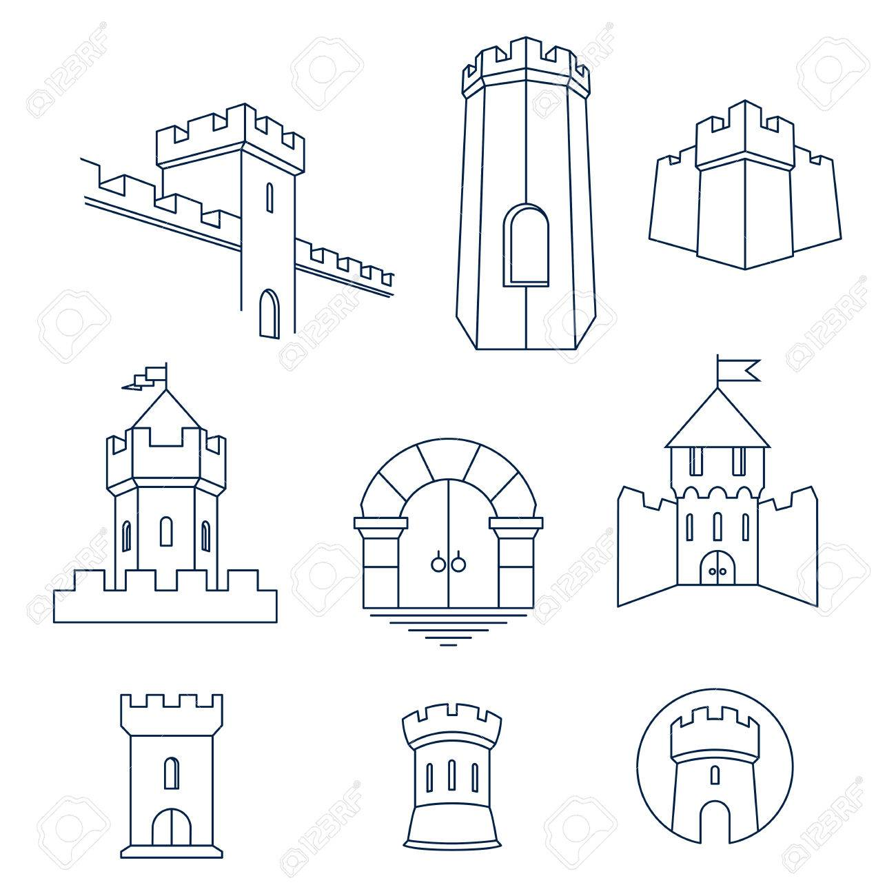 69148682 castle tower turret kingdom fortress and castle gate vector line art icon set castle tower, turret, kingdom fortress and castle gate vector
