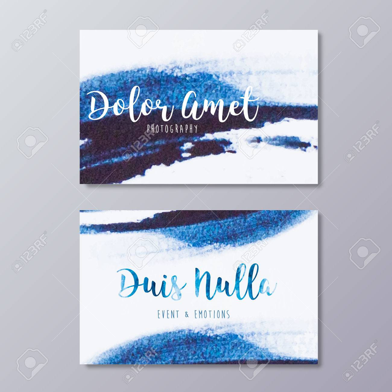 Premade photography business card design hand drawn abstract premade photography business card design hand drawn abstract blue watercolor stroke texture and wedding event colourmoves