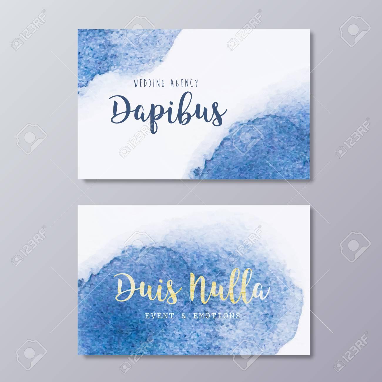 Premade wedding dress business card design vector templates premade wedding dress business card design vector templates hand drawn abstract blue watercolor spot texture colourmoves