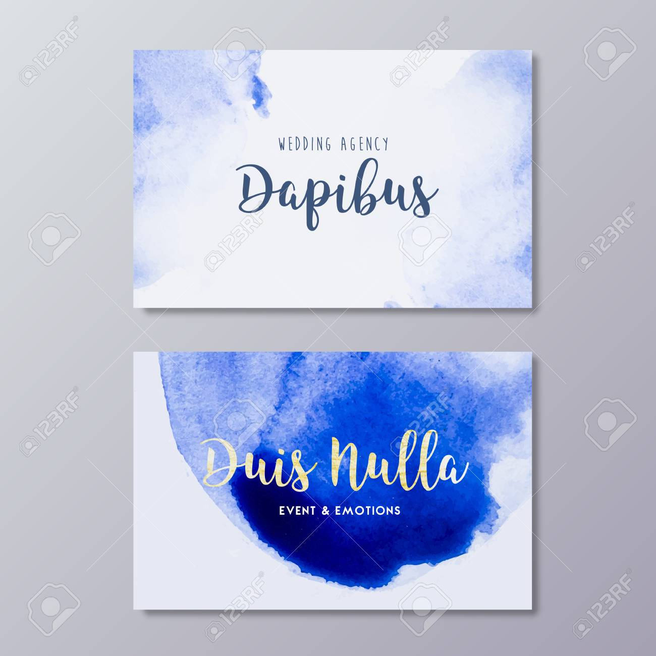 Premade wedding photography business card art design vector premade wedding photography business card art design vector templates hand drawn abstract blue watercolor spot accmission Gallery