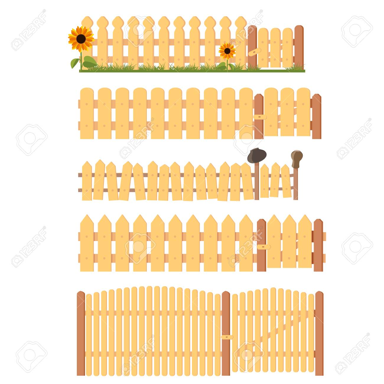 Rustic Wooden Cartoon Fences Vector Set Fence With Gate Grass Flowers And Rural
