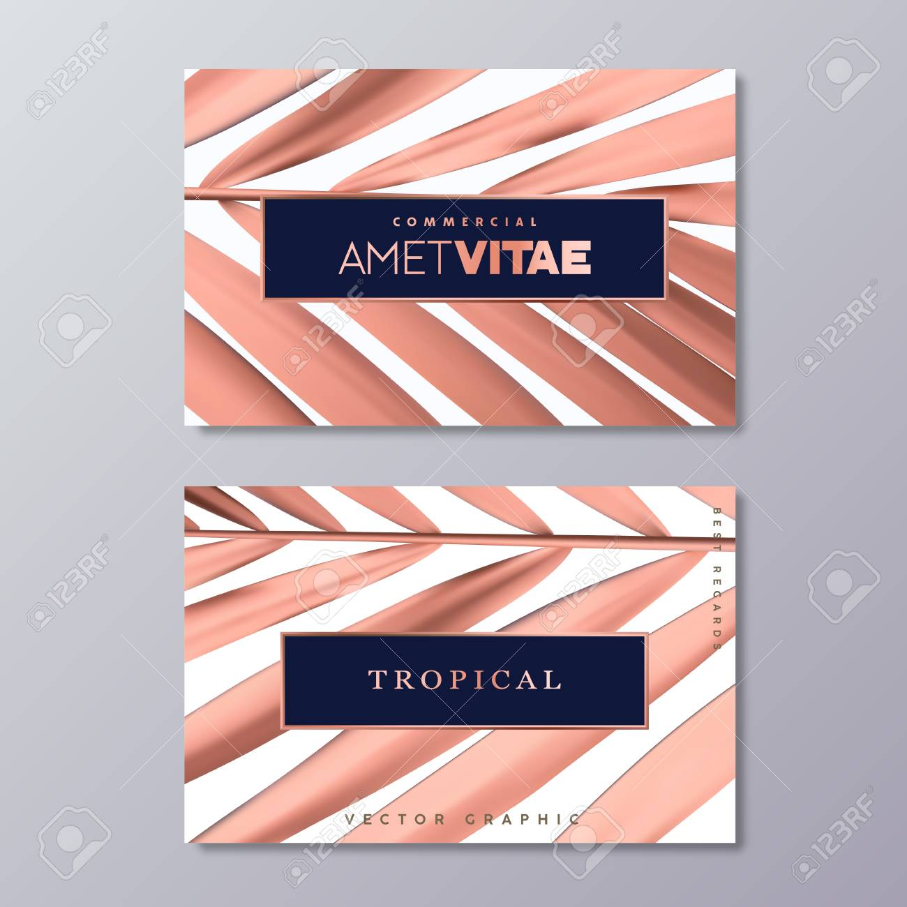 Rose Gold Palm Foil Business Card Templates