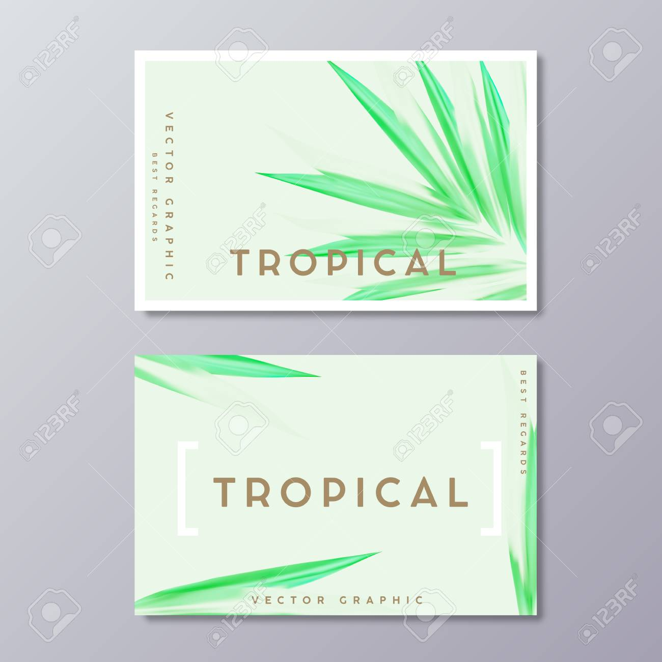 herbal medicine or spa treatment business card templates tropical green lush foliage botanical
