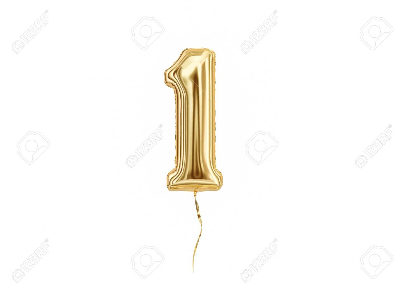 Numeral 1. Foil balloon number One isolated on white background - 111768453
