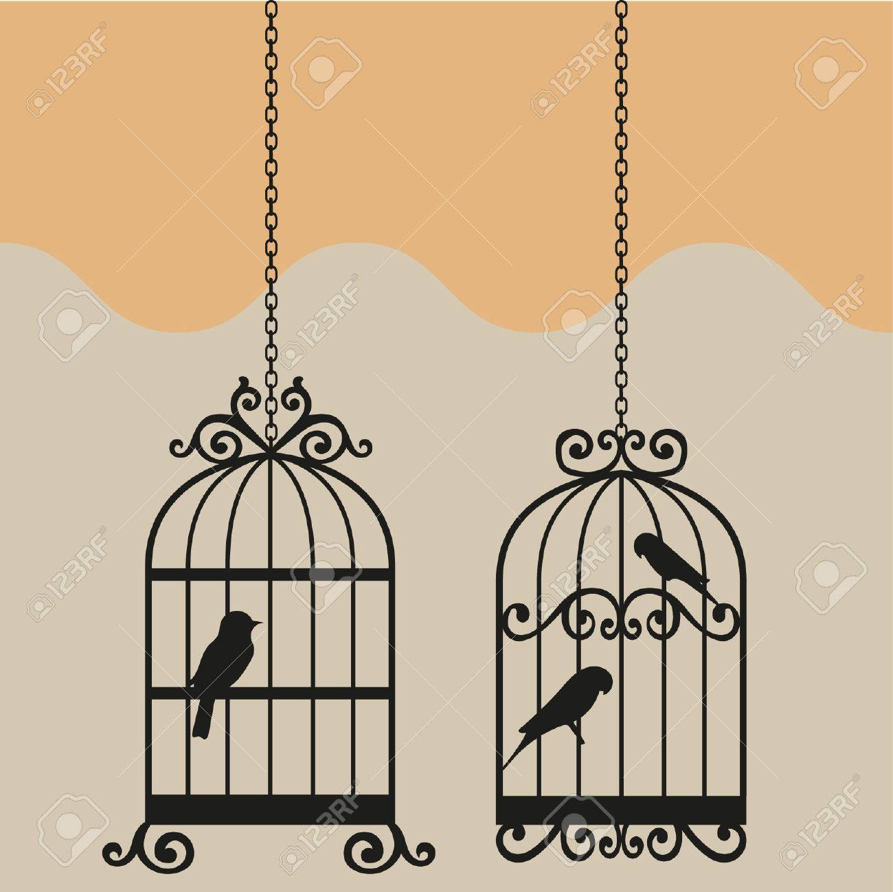 vintage bird cage vector illustration royalty free cliparts