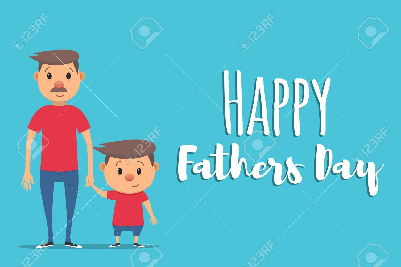 Happy Fathers Day  Father and son  Father holds his son's hand