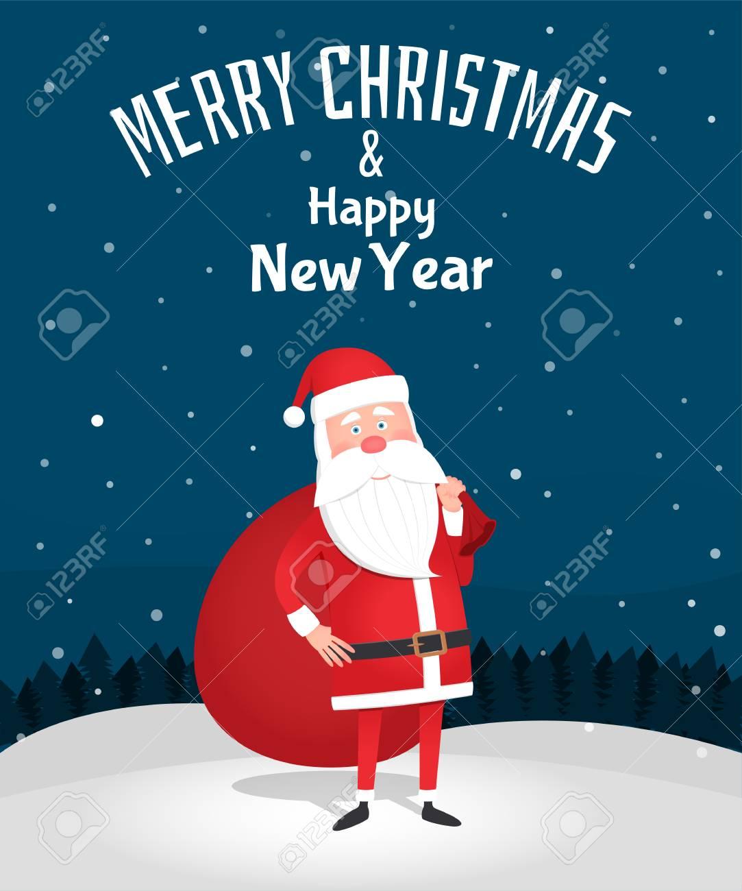 Fröhliche Weihnachten. Santa Claus, Die Eine Tasche Hält ...