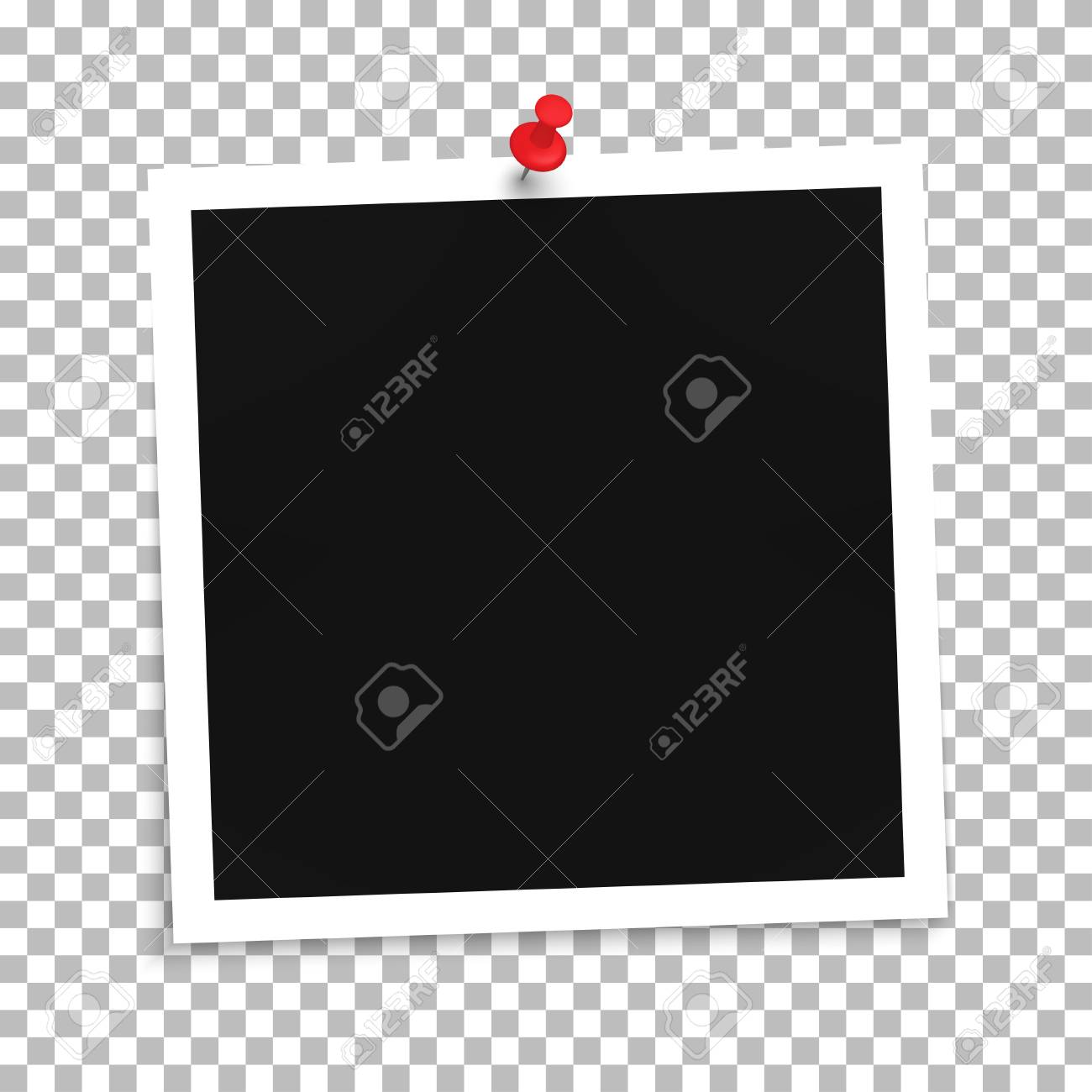 photo frame template with push pin on a transparent background