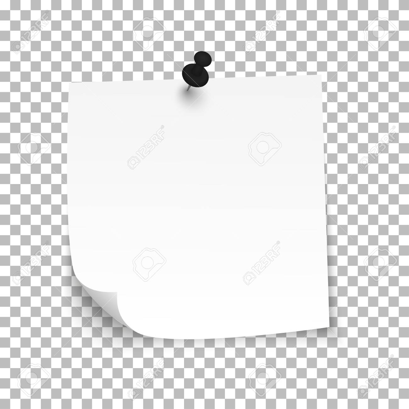 white sheet of note paper with push pin vector illustration royalty