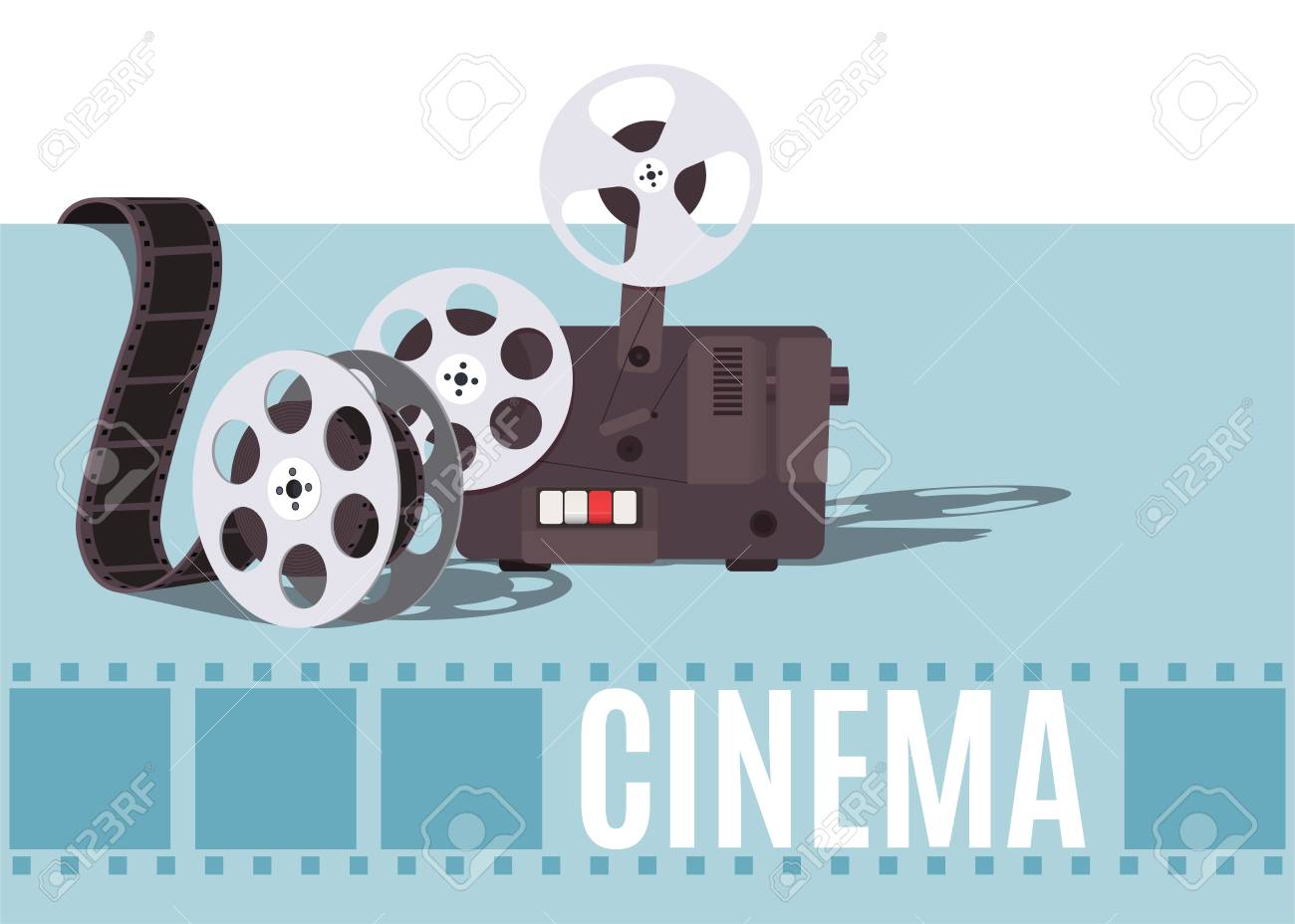 Old Cinema Projector With Movie Reel Template For Banner Flyer Or Poster Stock