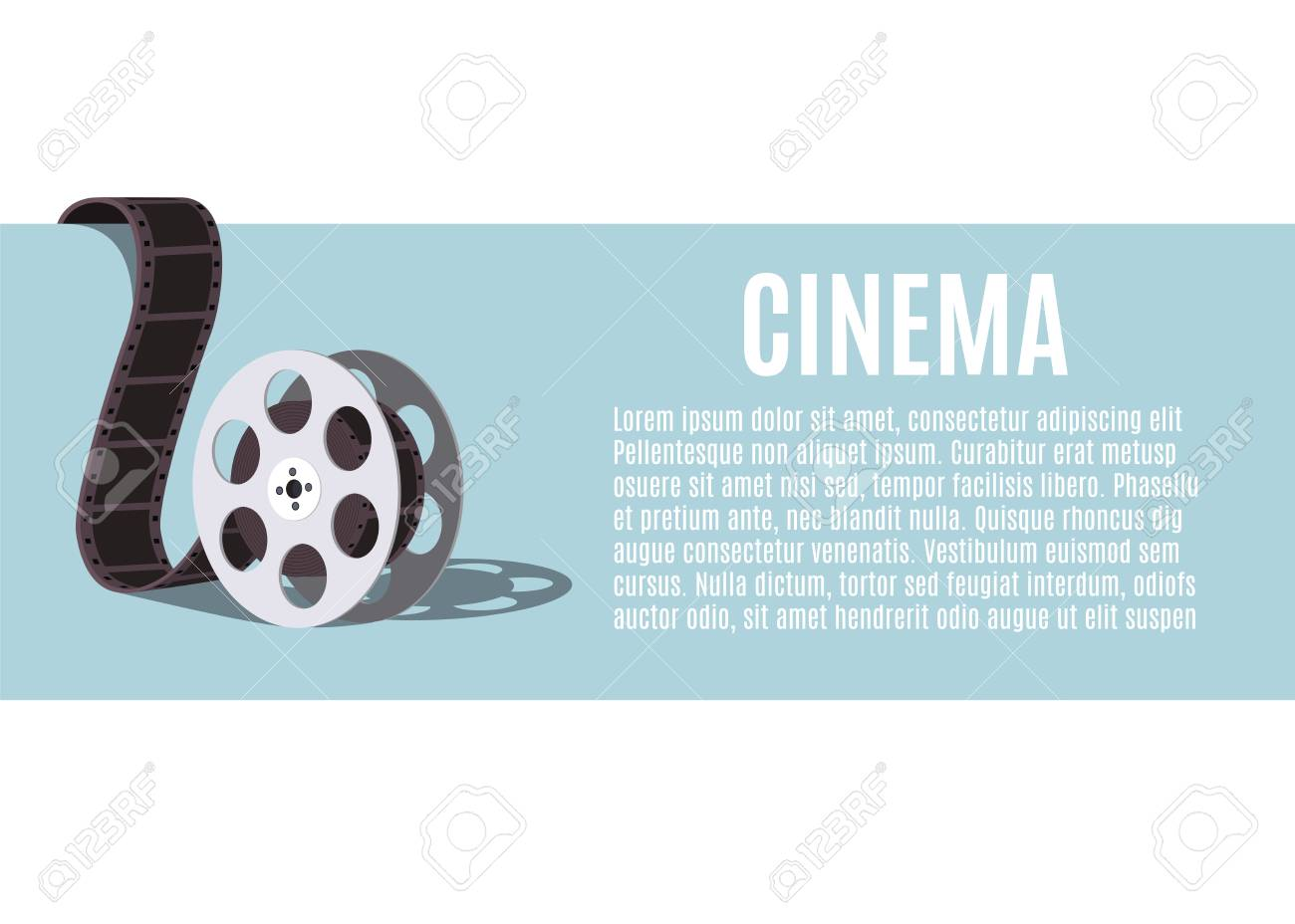 Old Movie Reel Template For Banner Flyer Or Poster Stock Vector