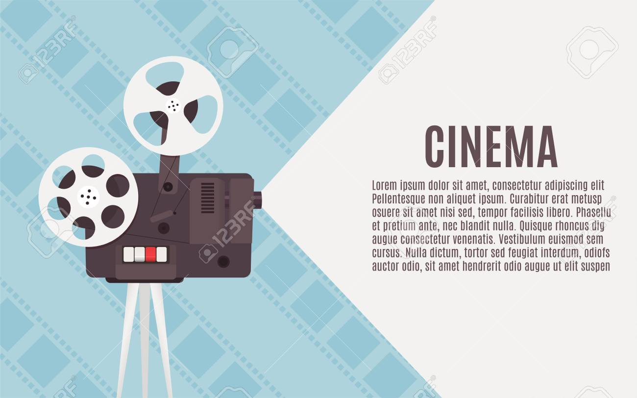 Old cinema projector  Template for banner, flyer or poster