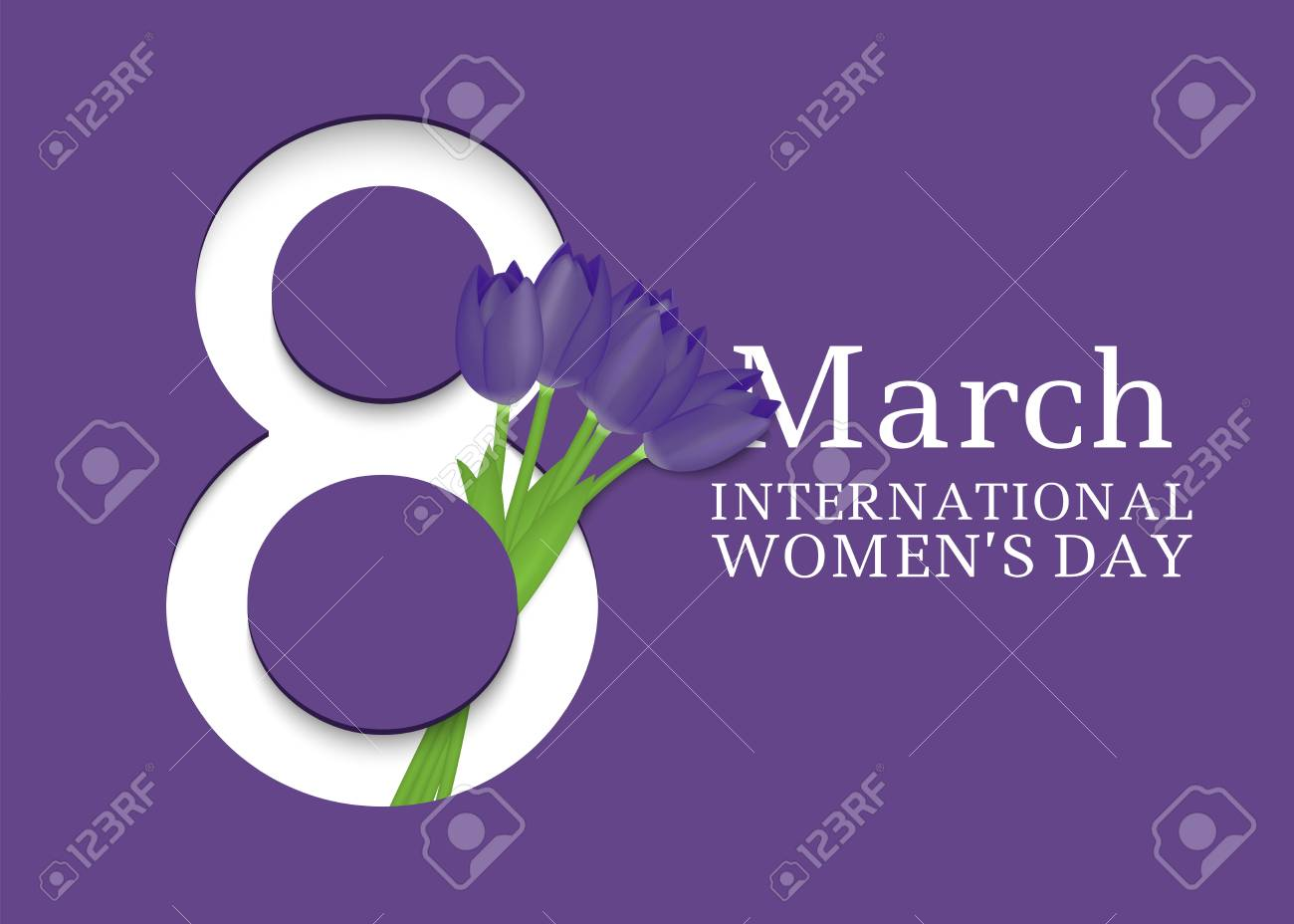 8 March. International Women's Day. Template for posters or cards with number 8 and tulips. Vector illustration - 94688167