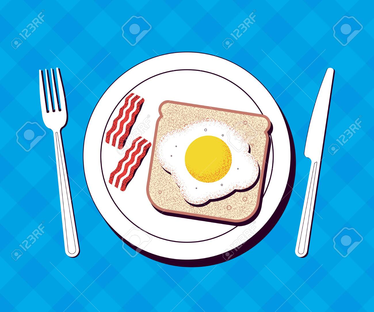 Breakfast Plate With Egg And Bacon On A Table Vector Illustration Royalty Free Cliparts Vectors And Stock Illustration Image 124048471