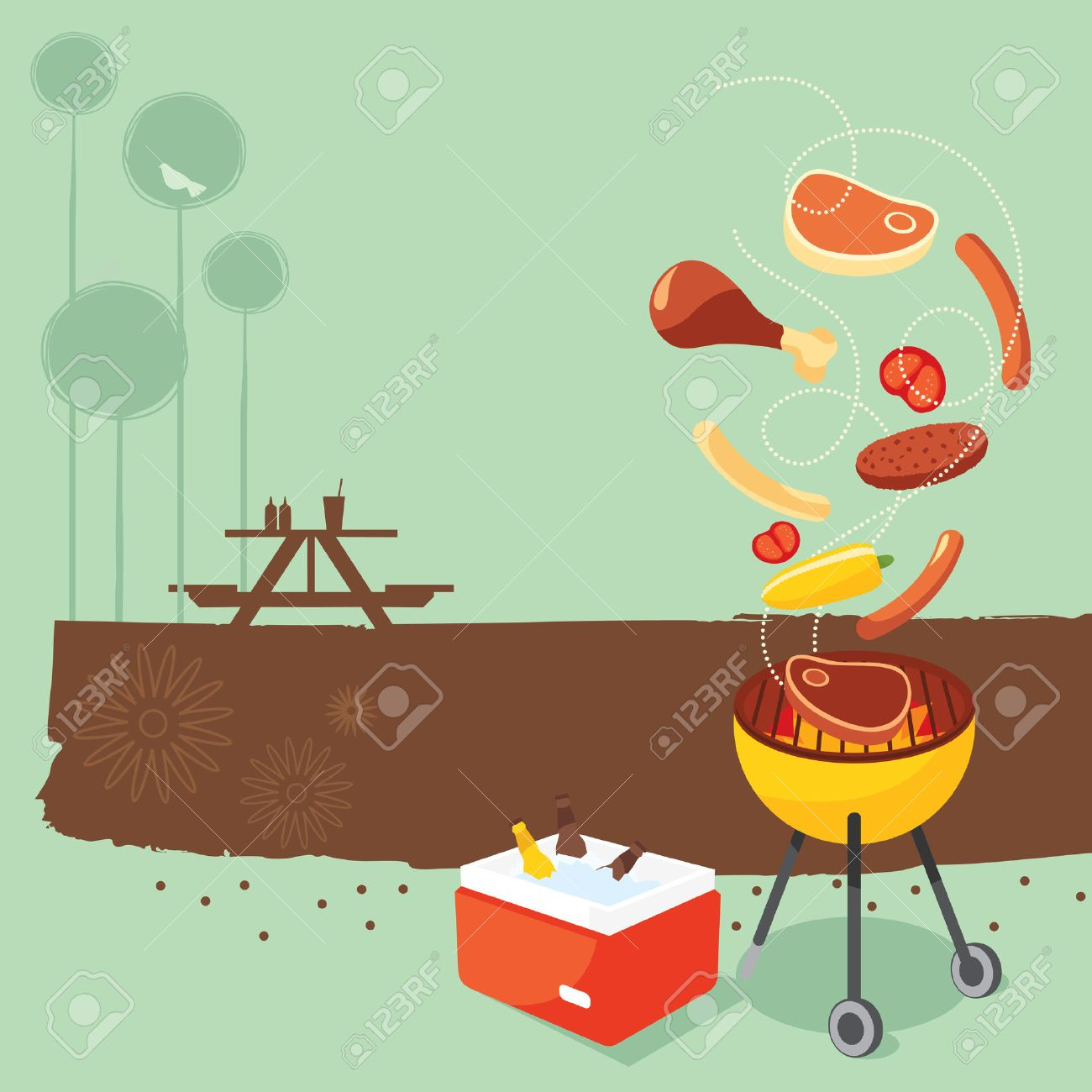 Cookout border clipart hot dog cookout invite stock vector art - Bbq Party Retro Bbq Party Background Illustration