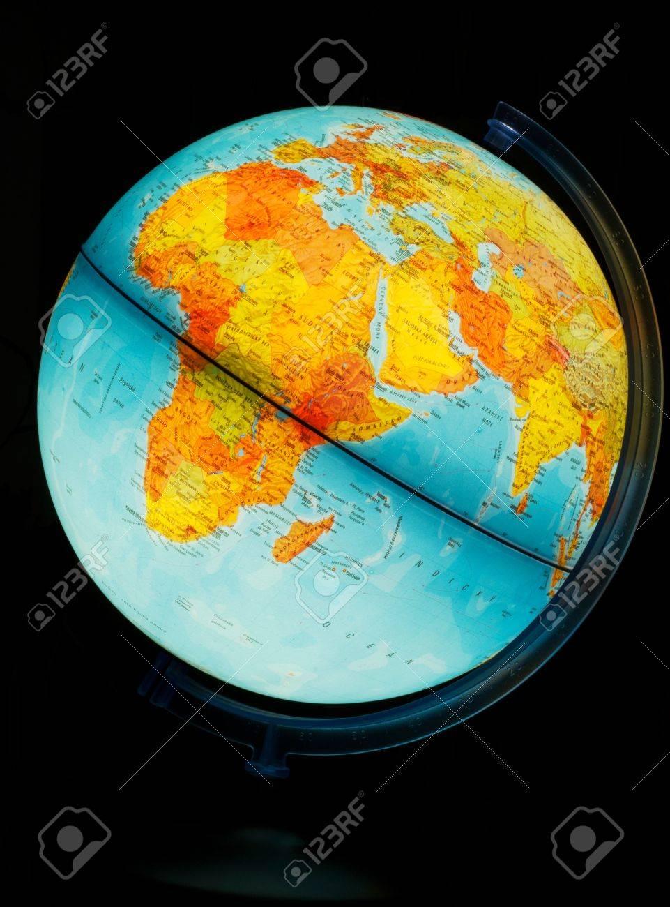 Illuminated Globe on a black background Stock Photo - 12324181