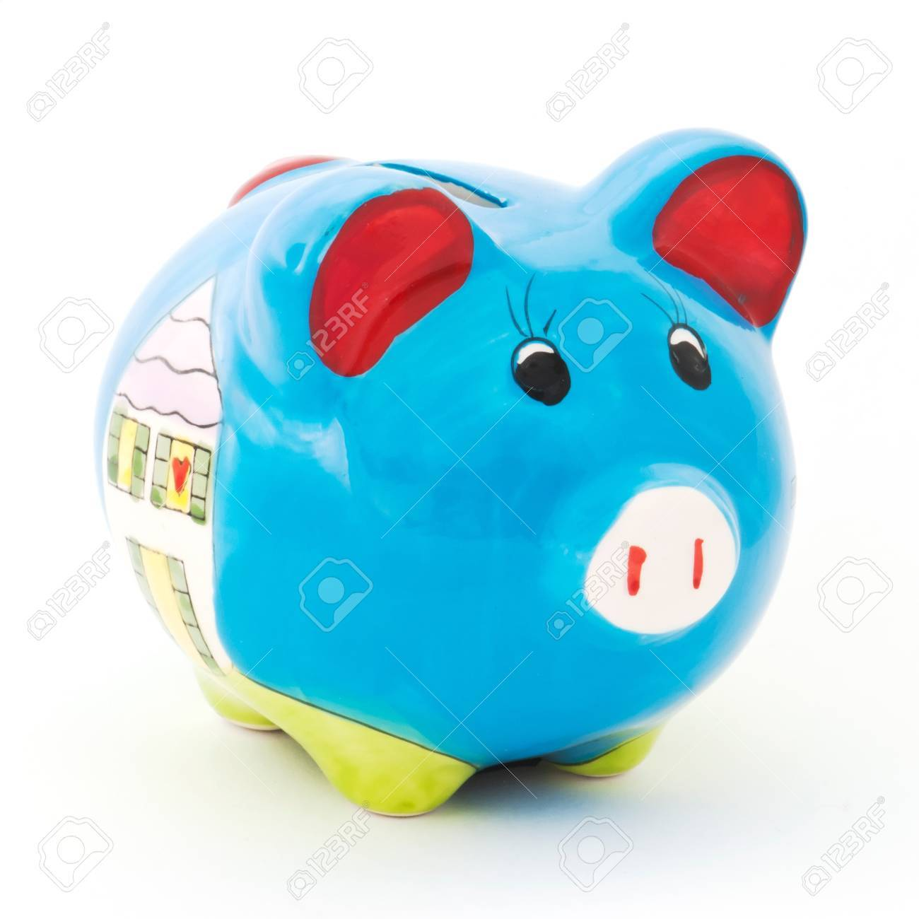 Ceramic pig box on white background - 13321266