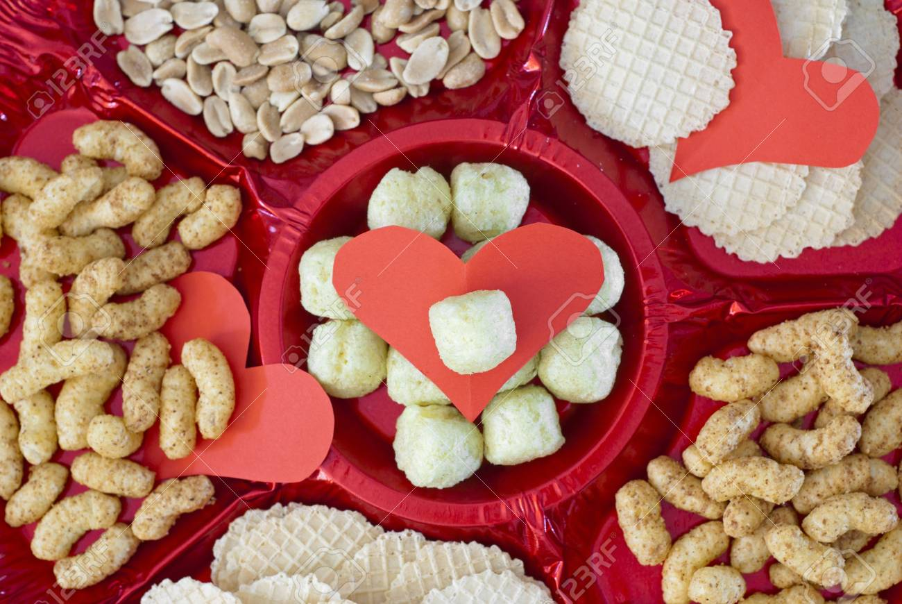 Valentine refreshments. Snack and hearts. Stock Photo - 17186349