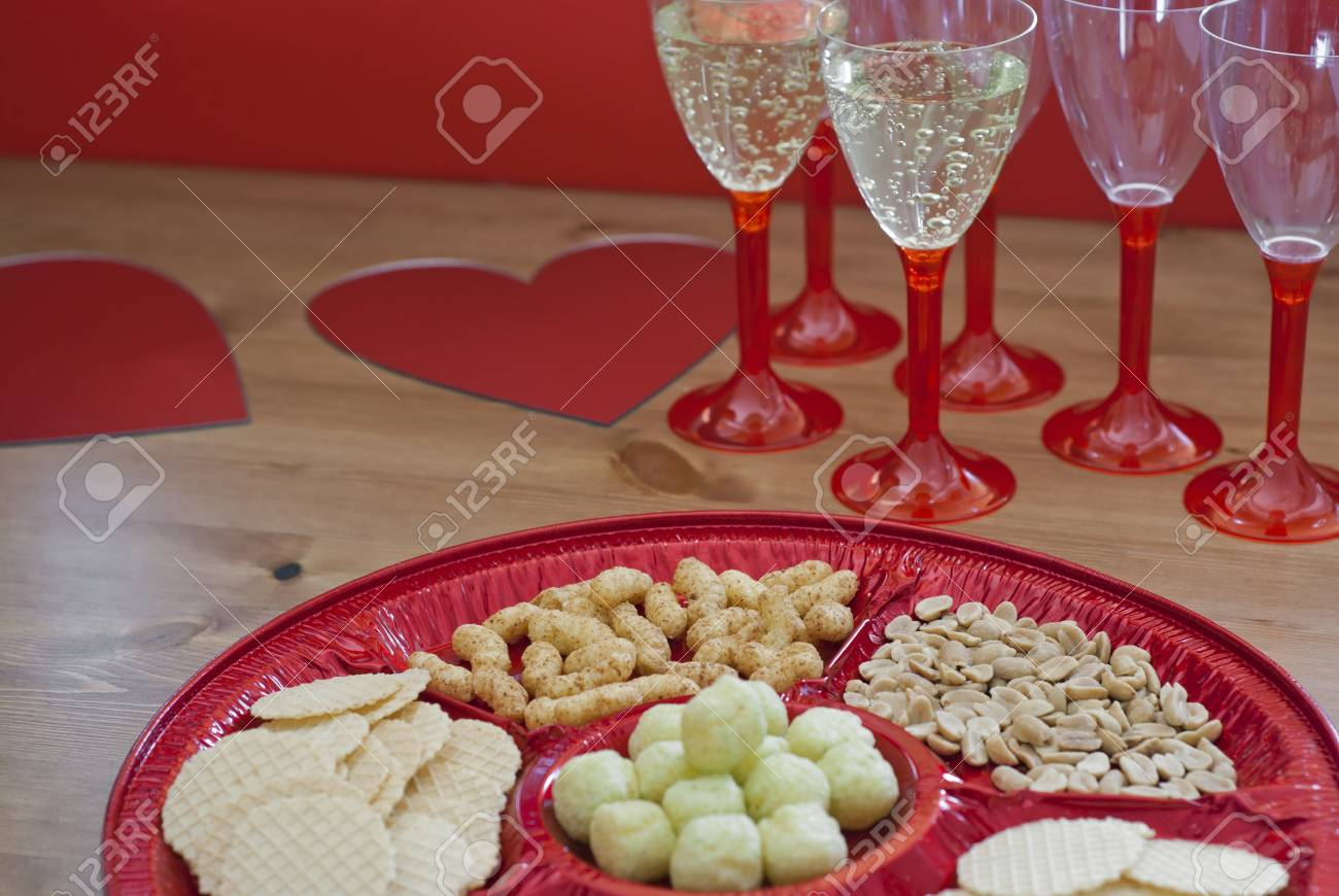 Valentine table setting with hearts and champagne. Stock Photo - 17186347