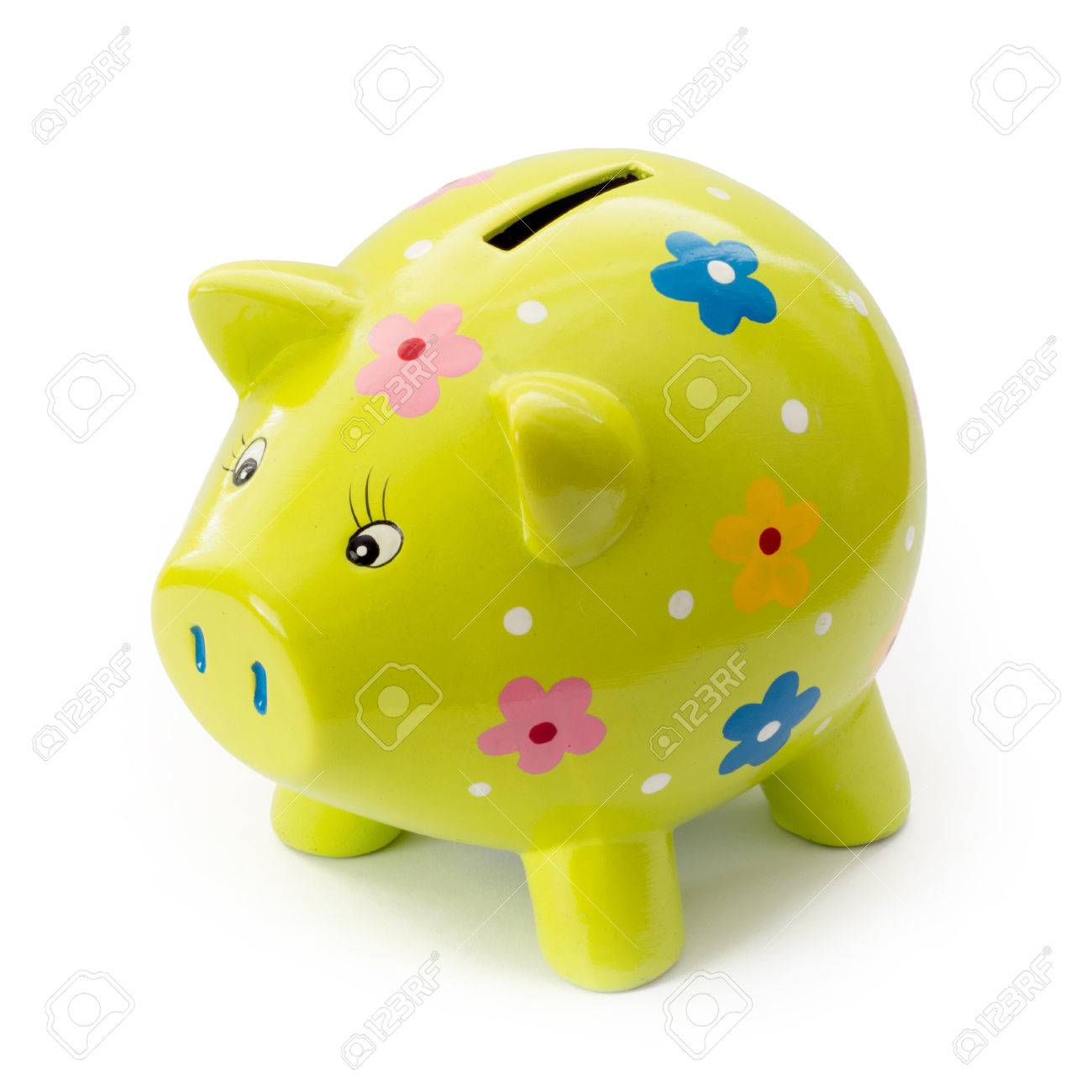 Painted ceramic piggy bank on a white background. - 26018753