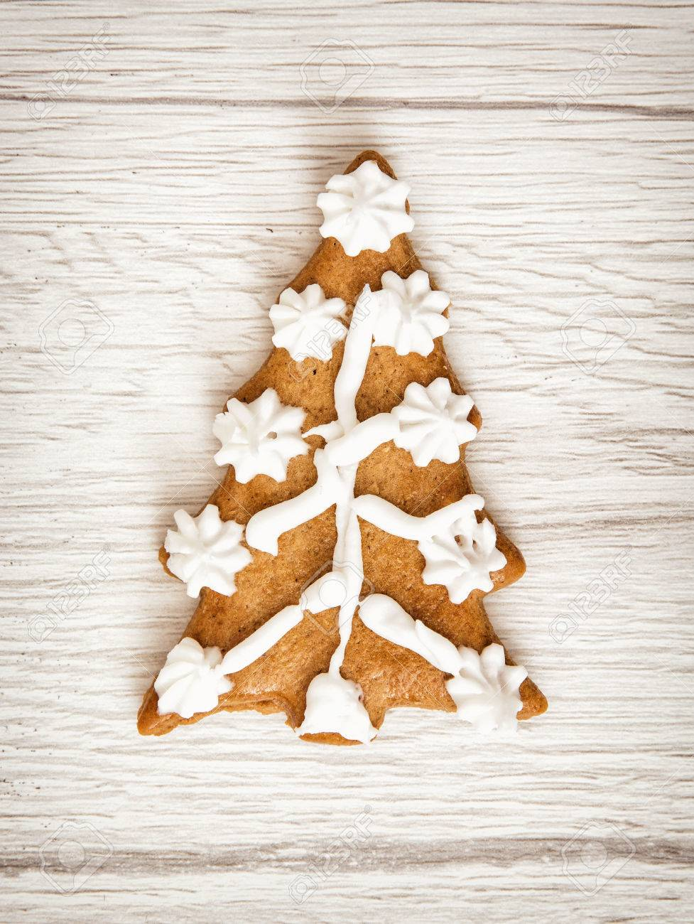 Decorated Christmas Tree Shaped Gingerbread Cookie. Merry Christmas ...