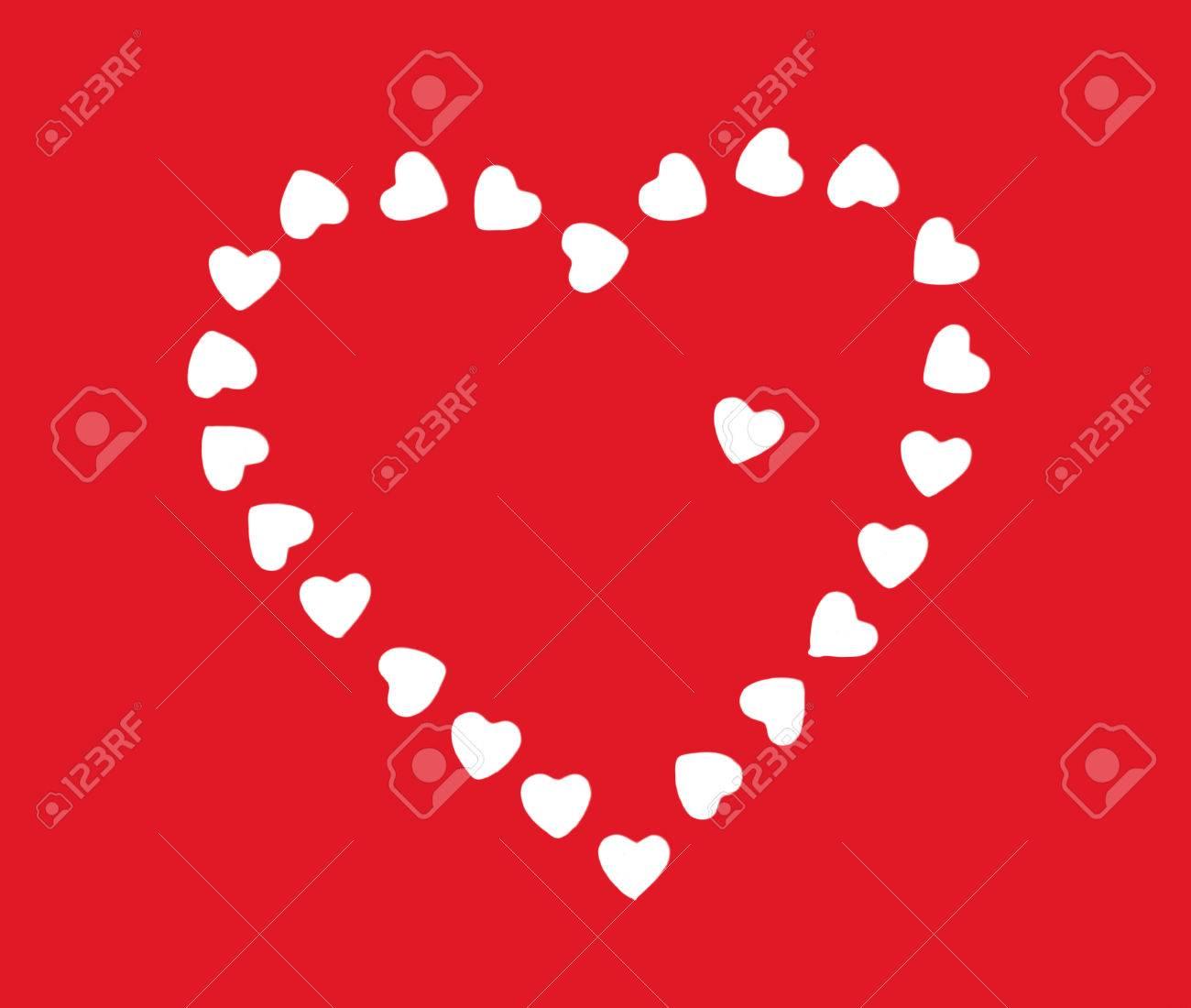 Valentinstag Herz Aus Kleinen Weissen Herzen Auf Dem Roten