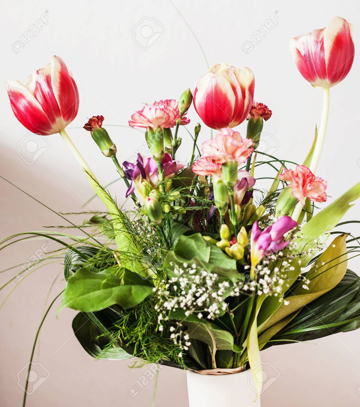 Beautiful Bouquet Of Tulips Carnations And Freesia Holiday Stock